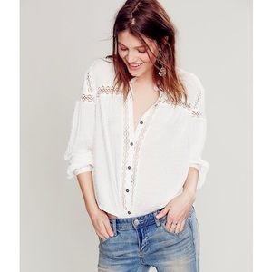 Free People Every Day Girl Swiss dot shirt